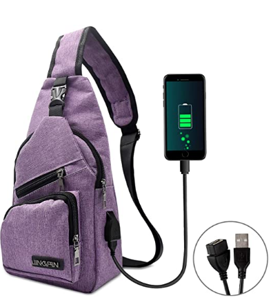 Crossbody Daypack with USB Cable review.