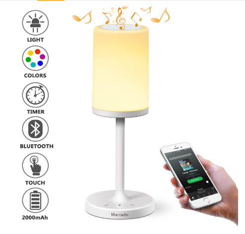 Marrado Bedside Lamp with Bluetooth Speaker | Color Changing LED Mood Light | Dimmable Touch Smart Table Lamp for Bedroom Review