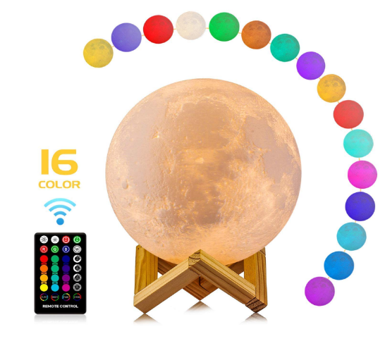 Moon Lamp, LOGROTATE 16 Colors LED 3D Print Moon Light with Stand & Remote&Touch Control and USB Rechargeable, Moon Light Lamps for Kids Review.