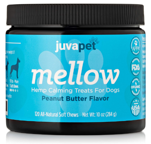 JUVAPET Calming Treats for Dogs with Hemp Oil and Valerian Root to Aid with Dog Anxiety Relief. Helps with Fireworks, Barking, Chewing, Thunder and Separation Review.