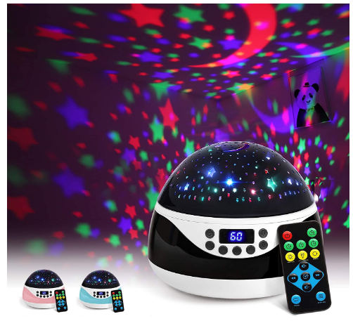 AnanBros Remote Baby Night Light with Timer Music, Star Night Light Projector for Kids, Rotating Kids Night Lights for Bedroom 9 Color Options Review.