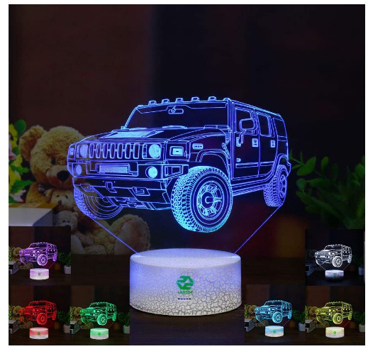Car Gifts Night Lights for Kids Birthday Gifts SUV 3D Illusion Lamp Optical Desk Table Touch Nursery Party Western Children Bedroom Decor 7 Color Change USB Crackle Toy for Boys Room and Baby Review.
